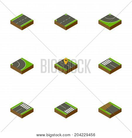 Isometric Road Set Of Road, Footer, Strip And Other Vector Objects