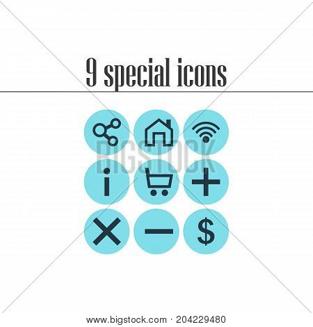 Editable Pack Of Wheelbarrow, Wrong, Money Making And Other Elements.  Vector Illustration Of 9 Member Icons.