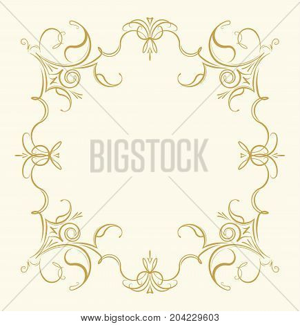 Vintage Ornamental Floral Frame In Gentle Tones For Greeting Card, Retro Style Wedding Invitations,