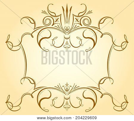 Vintage Ornamental Floral Frame With Crown In Gentle Tones For Greeting Card, Retro Style Wedding In