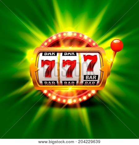 Golden slot machine wins the jackpot. Isolated on green background . Vector illustration
