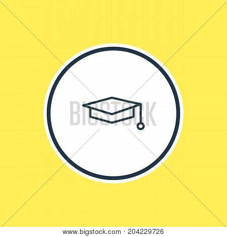 Beautiful Studies Element Also Can Be Used As Cap  Element.  Vector Illustration Of Graduation Hat Outline.