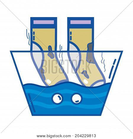 dirty socks soaking in pail with water vector illustration