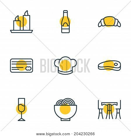 Editable Pack Of Bacon, Bowl, Fire Wax And Other Elements.  Vector Illustration Of 9 Restaurant Icons.