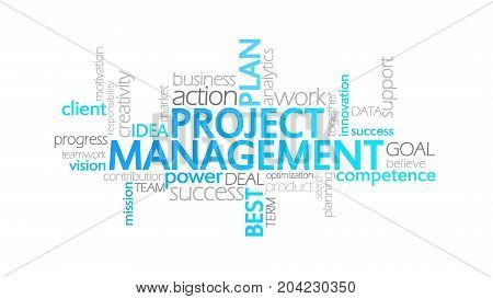 Project Management, Animated Typography, Word Cloud Concept Illustration