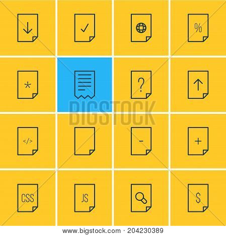 Editable Pack Of Script, Done, Style And Other Elements.  Vector Illustration Of 16 Paper Icons.
