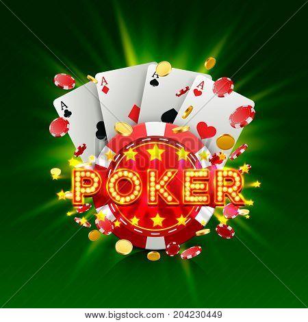 Poker casino banner signboard on the green background. Vector illustration