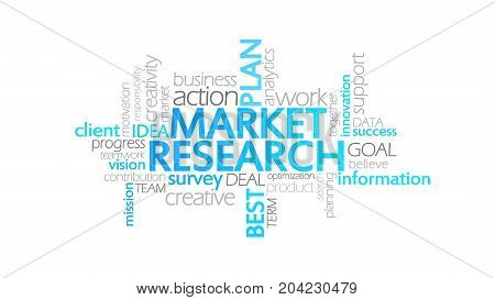 Market Research, Animated Typography, Word Cloud Concept Illustration