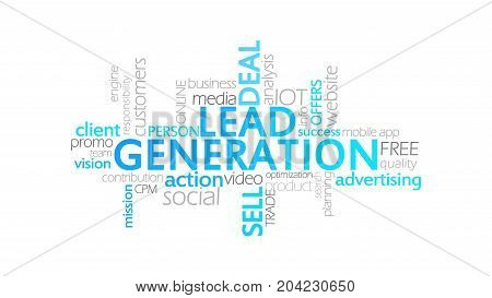 Lead Generation, Animated Typography, Word Cloud Concept Illustration