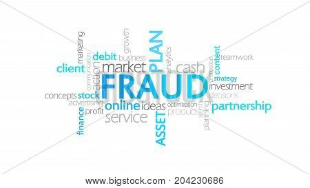Fraud, Typography Animation, Word Cloud Concept Illustration