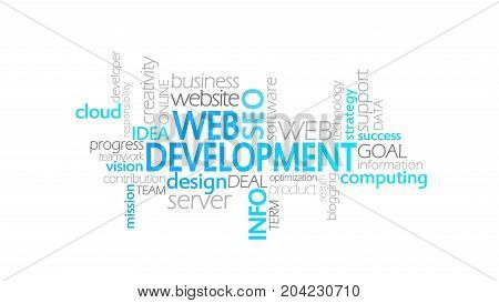 Web Development, Animated Typography, Word Cloud Concept Illustration