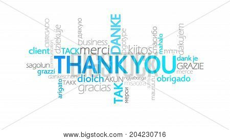 Thank You, Animated Typography, Word Cloud Concept Illustration