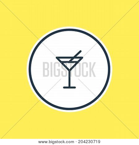 Beautiful Leisure Element Also Can Be Used As Martini Element.  Vector Illustration Of Cocktail Outline.