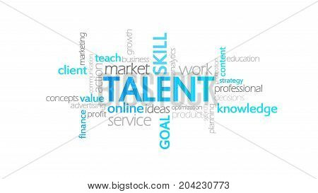 Talent, Typography Animation, Word Cloud Concept Illustration