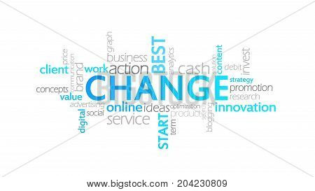 Change, Typography Animation, Word Cloud Concept Illustration