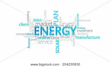 Energy, Typography Animation, Word Cloud Concept Illustration