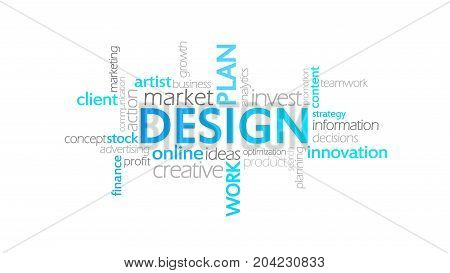 Design, Typography Animation, Word Cloud Concept Illustration