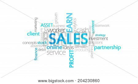 Sales, Typography Animation, Word Cloud Concept Illustration