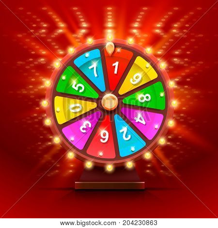 Colorful fortune wheel. Isolated on red background . Vector illustration