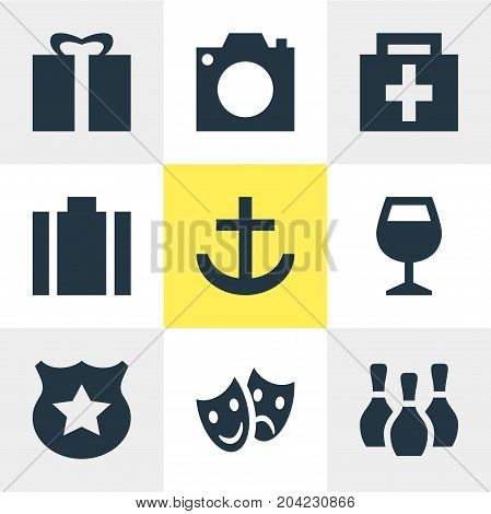 Editable Pack Of Wineglass, Briefcase, Skittles And Other Elements.  Vector Illustration Of 9 Map Icons.