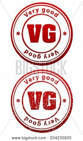 Pair Of Red Rubber Stamps In Grunge And Solid Style With Caption Very Good And Abbreviation Vg