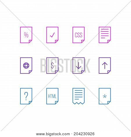 Editable Pack Of Question, Folder, Download And Other Elements.  Vector Illustration Of 12 File Icons.