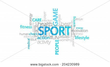 Sport, Typography Animation, Word Cloud Concept Illustration