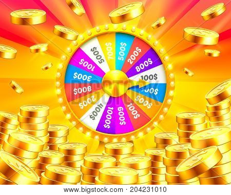 Colorful fortune wheel wins the jackpot. Piles of gold coins. Vector illustration isolated on golden background