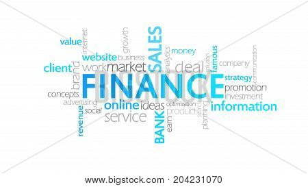 Finance, Animated Typography, Word Cloud Concept Illustration
