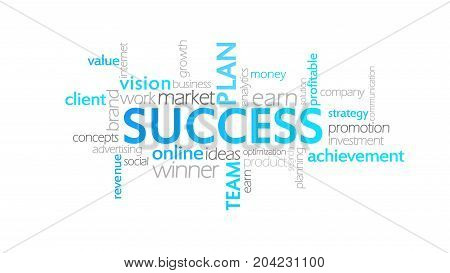 Success, Animated Typography, Word Cloud Concept Illustration