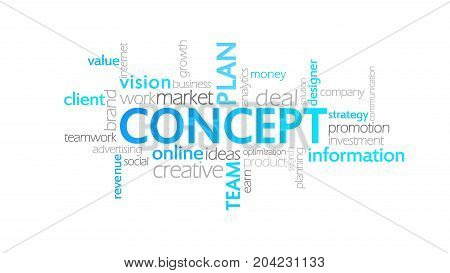 Concept, Animated Typography, Word Cloud Concept Illustration