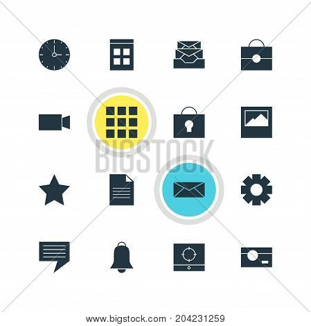 Editable Pack Of Letter, Date Time, Portfolio And Other Elements.  Vector Illustration Of 16 Internet Icons.