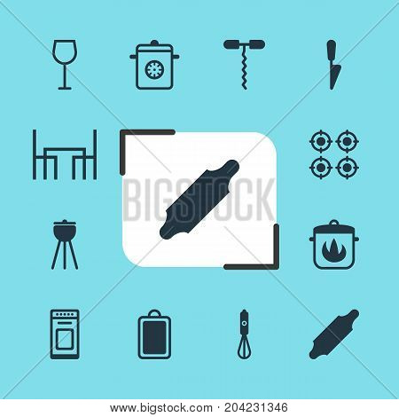 Editable Pack Of Kitchen Dagger, Dinner Table, Wine And Other Elements.  Vector Illustration Of 12 Kitchenware Icons.