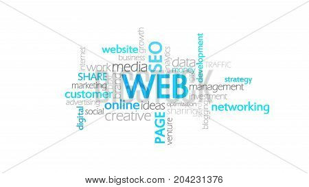 Web, Website, Typography, Word Cloud Concept Illustration