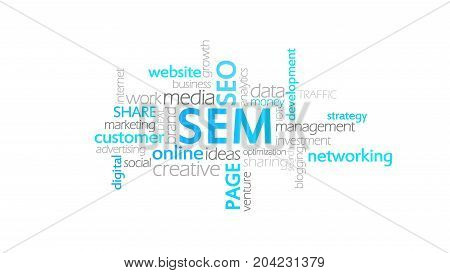 Sem, Search Engine Marketing, Word Cloud Concept Illustration