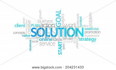 Solution, Animated Typography, Word Cloud Concept Illustration