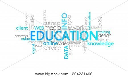 Education, Animated Typography, Word Cloud Concept Illustration