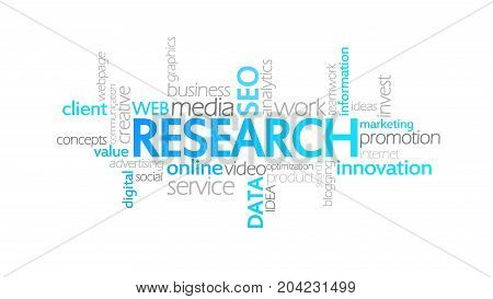Research, Animated Typography, Word Cloud Concept Illustration