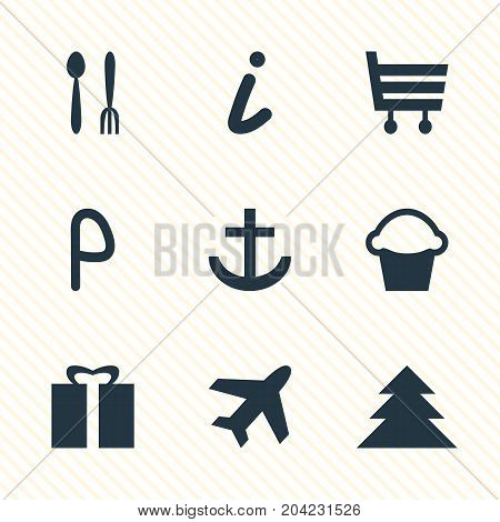 Editable Pack Of Car Park, Cafe, Present And Other Elements.  Vector Illustration Of 9 Map Icons.