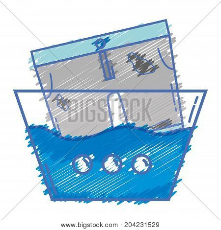 dirty shorts soaking in pail with water vector illustration