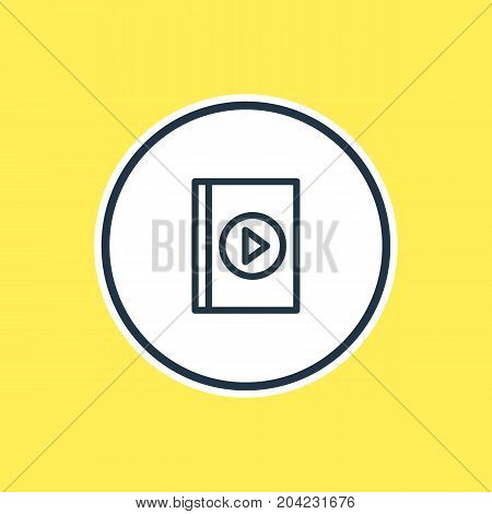 Beautiful Joy Element Also Can Be Used As Multimedia Element.  Vector Illustration Of Audio Book Outline.