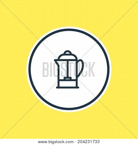 Beautiful Coffee Element Also Can Be Used As Drink Pot Element.  Vector Illustration Of French Press Outline.
