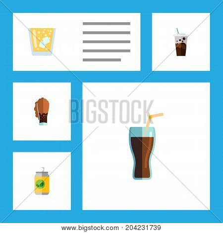 Flat Icon Soda Set Of Beverage, Lemonade, Carbonated And Other Vector Objects