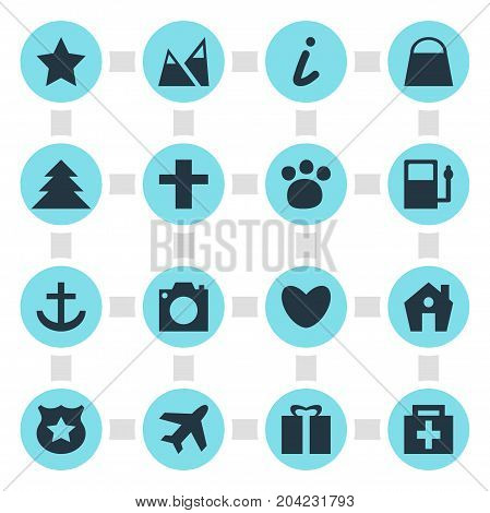 Editable Pack Of Handbag, Bookmark, Heart Elements.  Vector Illustration Of 16 Check-In Icons.