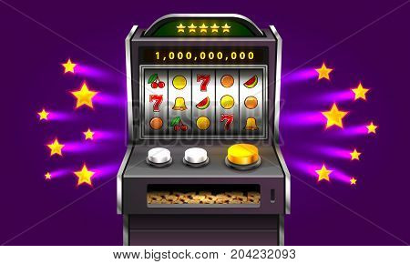 3d slots machine wins the jackpot, Isolated on purple star background. Vector illustration