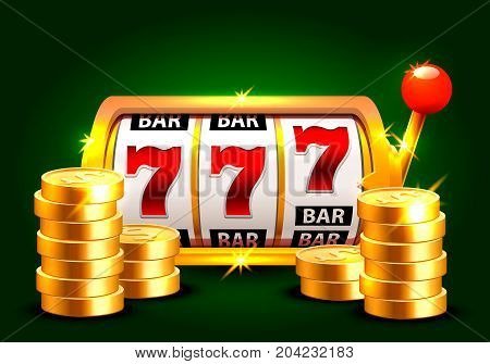 Golden slot machine wins the jackpot. Piles of gold coins . Vector illustration isolated on green background