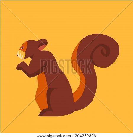 Colorful, editable vector design of a squirrel.