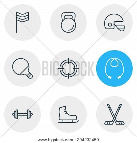 Editable Pack Of Skipping Rope, Weight, Pong And Other Elements.  Vector Illustration Of 9 Sport Icons.