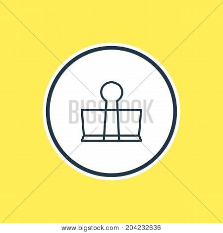 Beautiful Tools Element Also Can Be Used As Binder Clip Element.  Vector Illustration Of Stationery Outline.