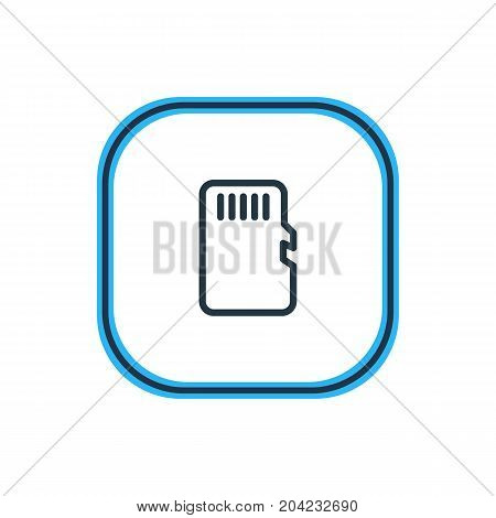 Beautiful Storage Element Also Can Be Used As Memory Element.  Vector Illustration Of Sd Card Outline.